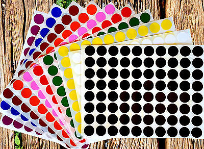 Round Dot Stickers 12 Inch Small Circle Craft Labels 13mm 10 Colors Value Pack
