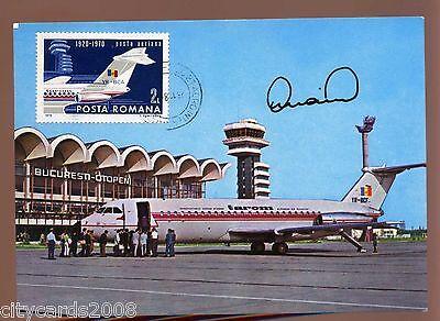 Romanian Postcard Aircraft Used Signed  Cosmonaut Prunariu   Soyuz 40