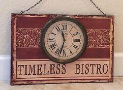 "Timeless Bistro Wooden ""Care De La Gare'"" Bistro Wall Clock Sign..Creative Co-Op"
