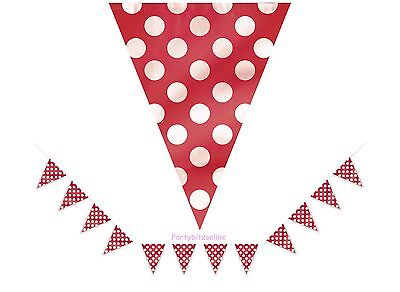 RED SPOTTY FLAG BANNER / BUNTING  - 12ft - PARTY CELEBRATION