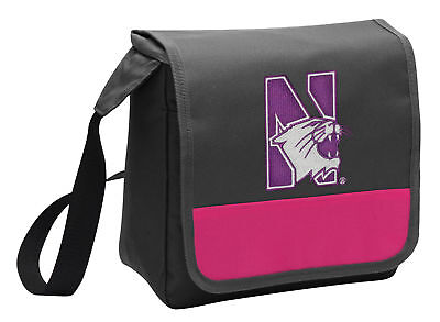 Northwestern Lunch Bag Girls NU WILDCATS Cooler Lunchbox Bags MESSENGER STYLE! ()