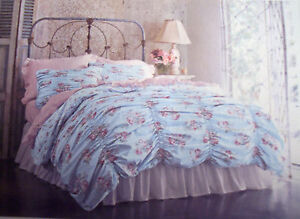 New Simply Shabby Chic Blue Pink CABBAGE ROSE ROUCHED Full Queen Duvet Shams Set