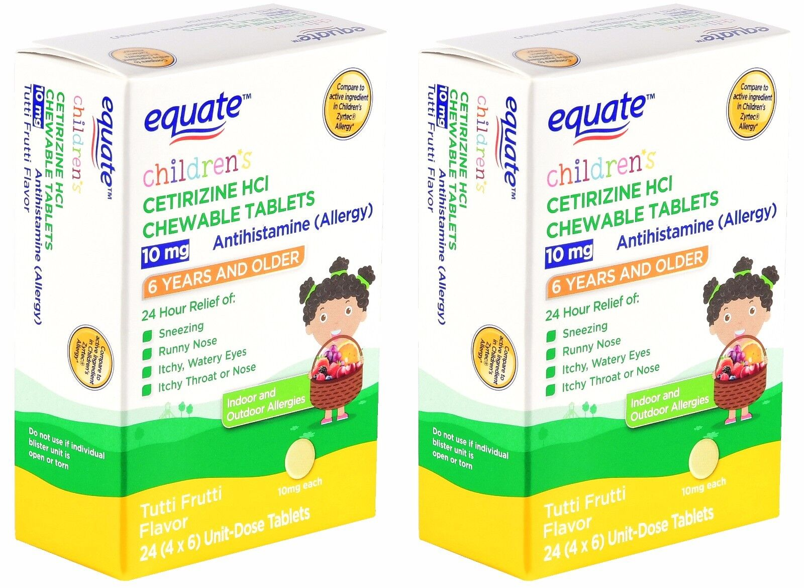 48-Tablets CHEWABLE Children's Cetirizine Allergy Antihistam