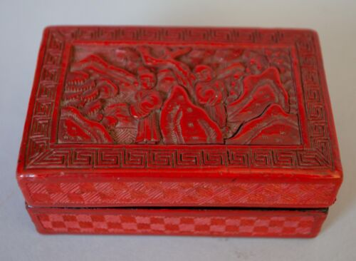 """Older Carved Chinese Cinnabar Lacquer Box 2 1/2"""" x 4"""" x 1 3/4"""" tall"""