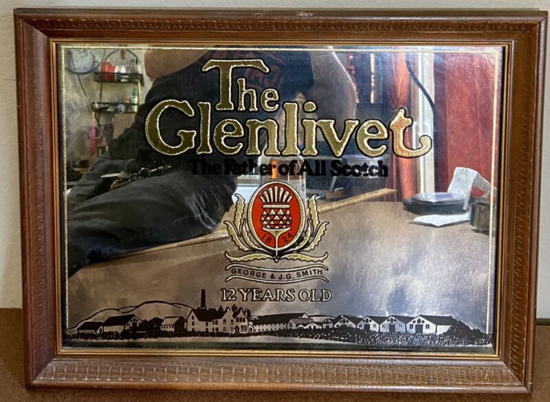 "Vintage Glenlivet Scotch Whiskey 20""x15 Bar Pub Mirror Acid Etched Gold Embossed"