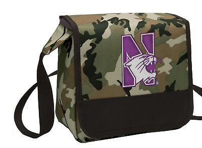 Northwestern Lunch NU WILDCATS CAMO Bag Cooler Lunchbox Bags MESSENGER BAG STYLE ()