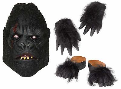 Zombie Gorilla Ape Killer Kit Mask, Hands + - Zombie Gorilla Kostüm