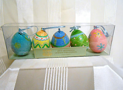 Pier  1 imports Easter Pattern Glitter Egg Ornament Box Set of 5 Colorful Eggs