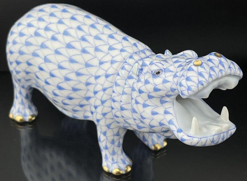 🦋 MINT HEREND Hippo / Hippopotamus Blue Fishnet Figurine ($560 Retail)