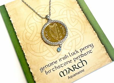 Irish Lucky Penny Birthstone Pendant Necklace - March, Aquamarine Crystal
