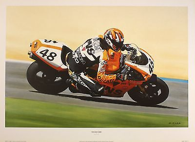 "DERRICK MARK ""Wild Card"" motorbike ducati motoGP art SIZE:41cm x 61cm  RARE"
