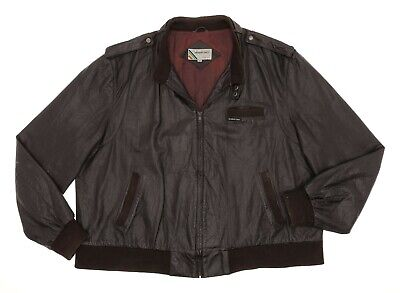 Vintage Members Only Jacket 3X XXXL Mens Vtg CAFE RACER Leather Jacket Brown