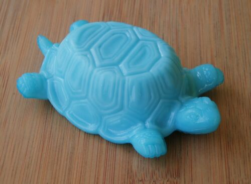 French Portieux Vallerysthal Blue Milk Glass Turtle Decor Small Dish