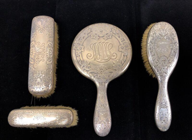 Antique Gorham Sterling Silver Floral Brush Hand Mirror 4 Pcs Vanity Set