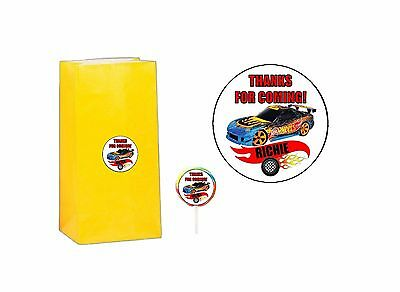 20 Hot Wheels 2 inch Stickers Party Bag Tags Favors Lollipops Personalize - Hotwheels Party