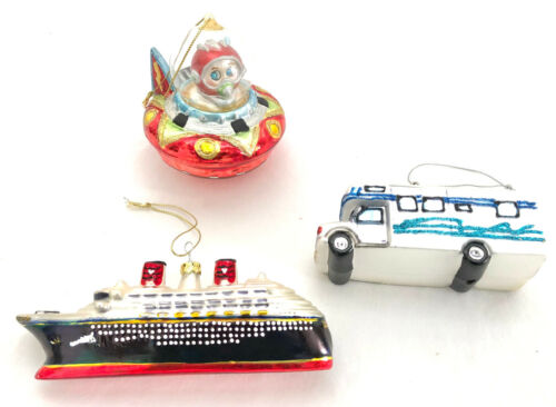 """Lot of 3 Glass """"Travel"""" Christmas Ornaments, Space Ship, Cruise Ship, RV Camper"""