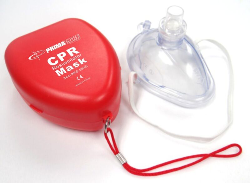Primacare RS-6845 CPR Mask in hard carrying case, RED, One way Valve