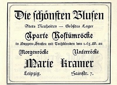 Marie Kramer Leipzig APARTE KOSTÜMRÖCKE Historische Reklame von - Kramer Kostüm
