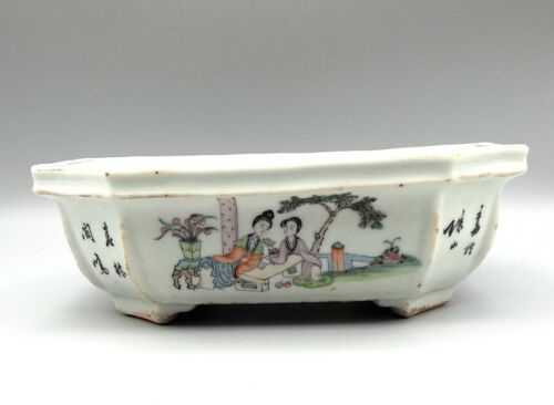 Antique Chinese Narcissus Flower Pot Tray Octagonal Qing Porcelain Hand Painted