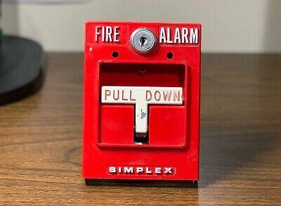 Vintage Rare Simplex 4251-50 Fire Alarm Dual Stage Pull Station Metal Tbar