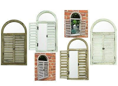 e2e Arched Wooden Garden Vintage Wall Mirror with Slatted Shutter