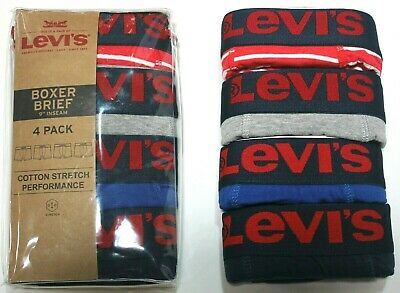 Levis Pack - Men Levi's 4-Pack Boxer Brief Cotton Stretch Underwear (Red-Blue-Gray) 9