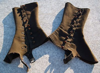 Spats, Gaiters, Puttees – Vintage Shoes Covers Antique Victorian 9 Button Spats Gaiters Leggings Green Wool Army Mens Womens  $44.50 AT vintagedancer.com