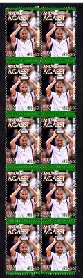 ANDRE AGASSI '99 FRENCH OPEN WIN STRIP OF TENNIS VIGNETTE STAMPS
