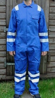 Royal Blue Tape (ROYAL BLUE BOILERSUIT WITH NORDIC DESIGN REFLECTIVE TAPE BRITISH MADE HEAVY DUTY)