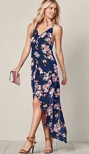 Dark Navy Blue Dress with Floral Print