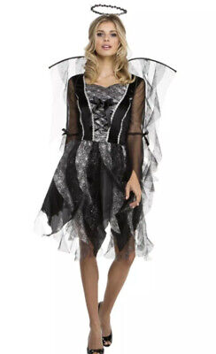 Black Glittery Ladies Fallen Angel Halloween Costume New Size 14-16
