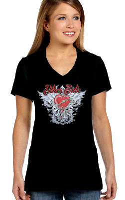 Womens Beautiful Biker Babe Heart W Wings Chain Design On V Neck Tee Shirt ](Super Beautiful Babes)