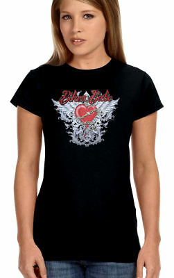 Womens Beautiful Biker Babe Heart Wings W Chain Design Lady Rider Crew Tee Shirt](Super Beautiful Babes)