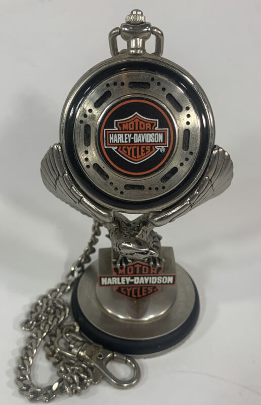 Harley-Davidson Pocket Watch Heritage Softail With Eagle Display Franklin Mint