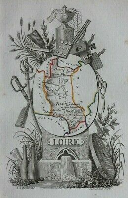 Miniature antique map, LOIRE, ST ETIENNE, MONTBRISON, FRANCE, A.M. Perrot, 1824