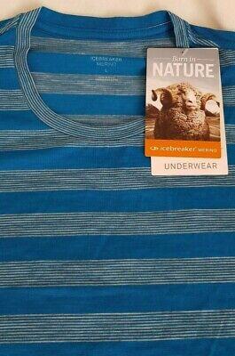 NEW - RRP £55 - Icebreaker Anatomica Men's - LARGE - Striped - Alpine/Metro