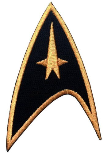 """BLACK Star Trek Command insignia Cosplay Hat Iron on 3"""" Patch"""