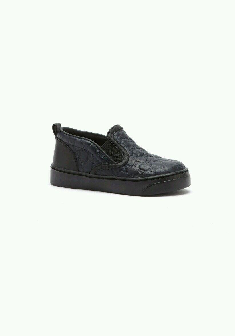 NIB NEW Gucci boys GG Leather Slip On Sneaker Navy black 20 21 24 25 26 356308
