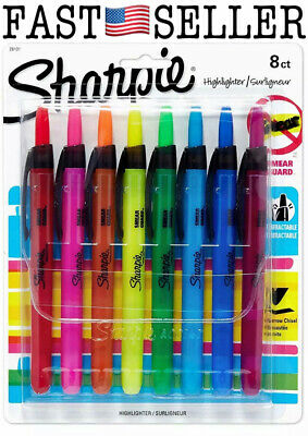 Sharpie Smear Guard Retractable Highlighters Chisel Tip 8 Colors Set - Sealed