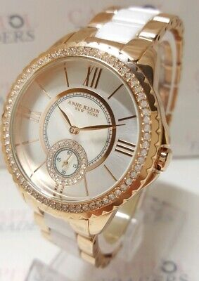 Anne Klein 12/2310RGWT Women's 38mm Crystal Accent MOP Dial Watch   **NEW**