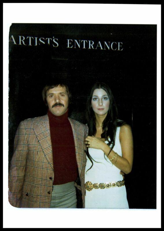 CHER & SONNY BONO ca 1960s Live Candid Oversized Vintage Photo GODDESS OF POP nb