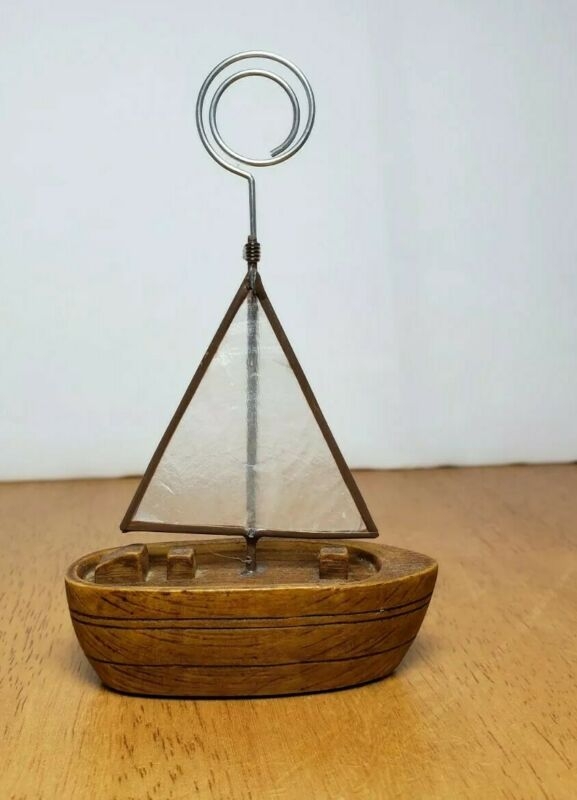 """Vintage Sailboat Photo/Memo/Note Holder 3""""×4.5"""" Made In Philippines"""