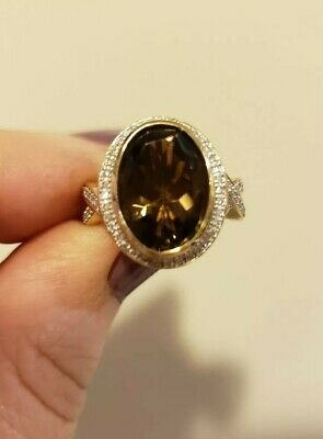 DESIGNER 14K YG Oval SMOKY QUARTZ & DIAMOND Ring, Size 7, 6.5 Gms, Heart Gallery ()