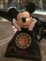 Mickey Mouse Telephone Disney Vintage Push Button House Phone Radio Alarm Clock