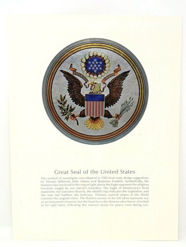 RARE VINTAGE BROWN & BIGELOW GREAT SEAL OF THE USA BEAUTIFUL FOIL COLOR PRINT
