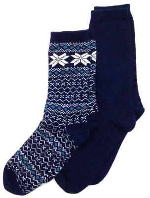 ($34 BLOOMINGDALE'S Men's 2 Pair Pack Casual Crew Socks NAVY BLUE WINTER One-Size)