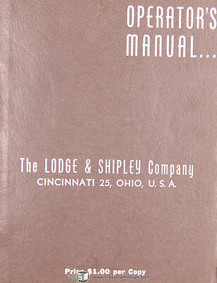 Lodge Shipley Duomatic 2a 3a Lathes Operators Instruct Service Parts Manual