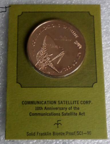Comsat-Intelsat Communications Satellite Corp. Vintage Proof Bronze Medal Medal