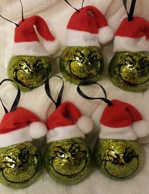 Set of 6 Grinch santa hat Christmas ornaments balls hand crafted  us seller