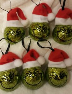 set of 6 grinch santa hat christmas ornaments balls hand crafted us seller - Grinch Christmas Tree Decorations